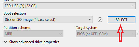 The select button for ISO