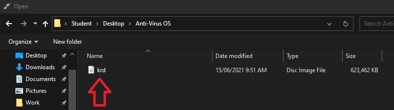 File Explorer: location of Anti-Virus ISO.