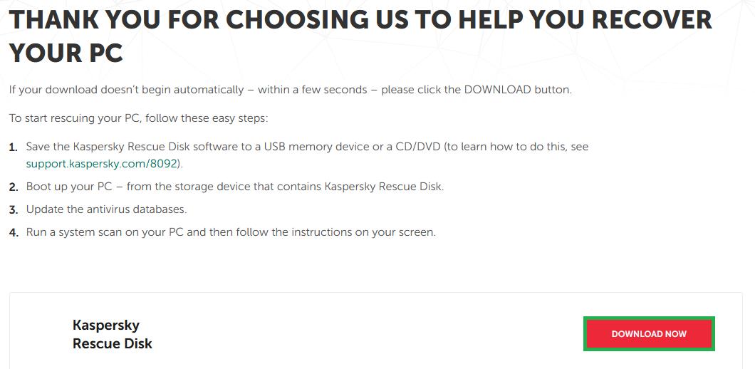 Kaspersky download website.