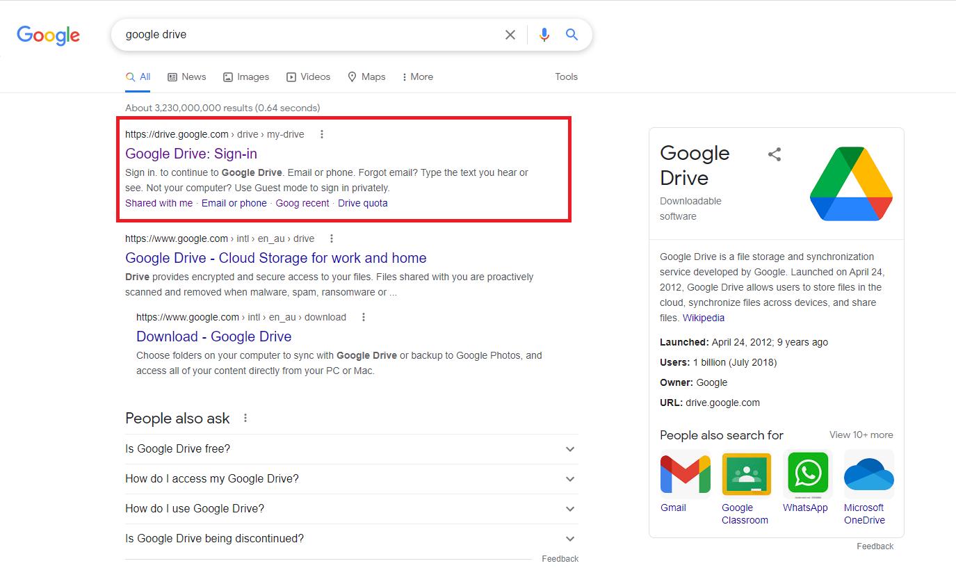 Open Google Drive website