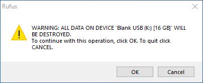 USB format confirmation