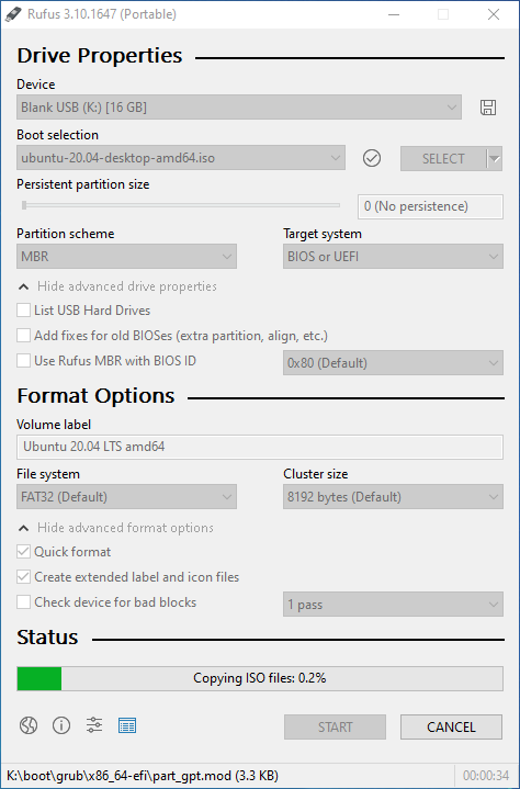 Bootable USB creation in progress