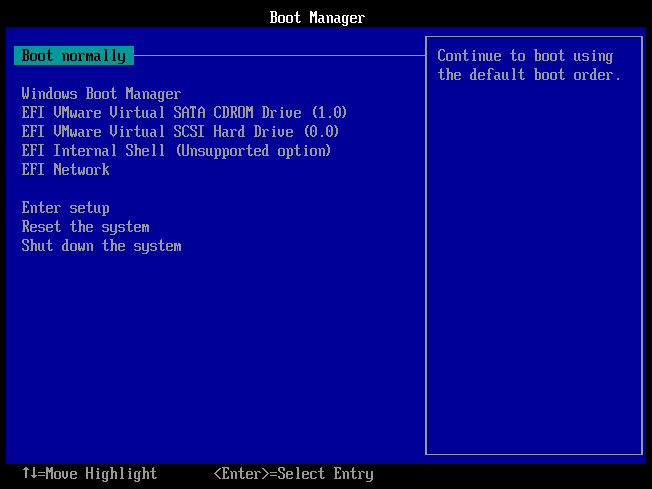 Virtual Machine Boot Menu